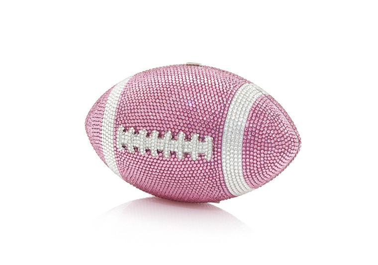 Judith Leiber Couture Football Pigskin Pink Crystal Clutch Bag