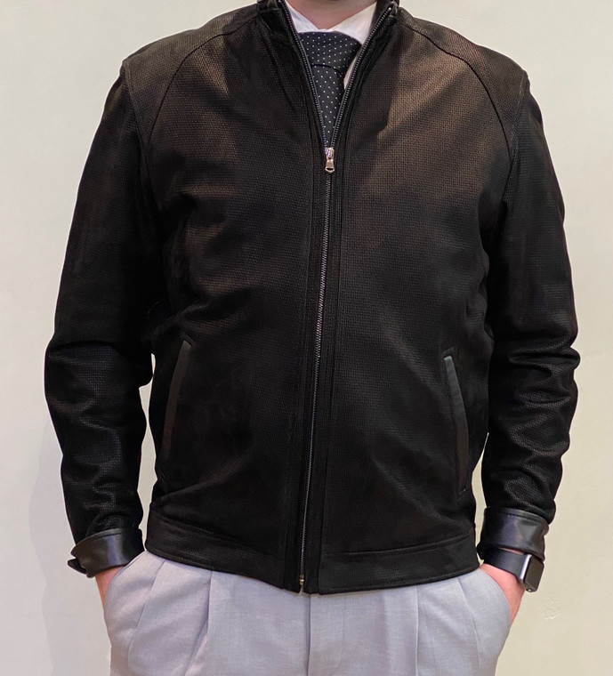 Remy Mens Embossed Nubuck Print Leather Jacket- Carbon/Noir