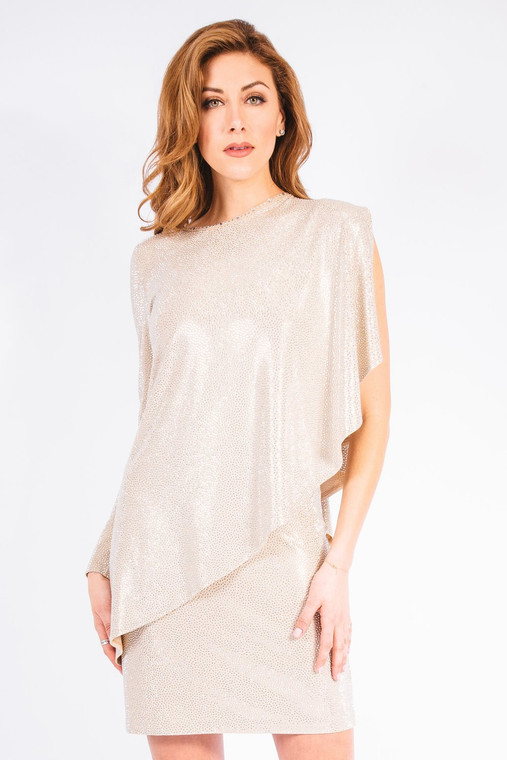 Grayse Beige Pave Stingray Asymmetrical Top