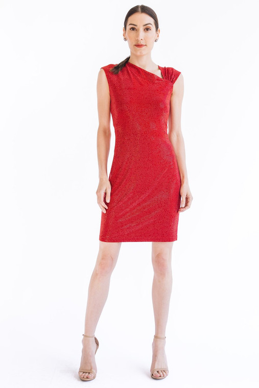 Grayse Crystal Fire Asymmetrical Dress