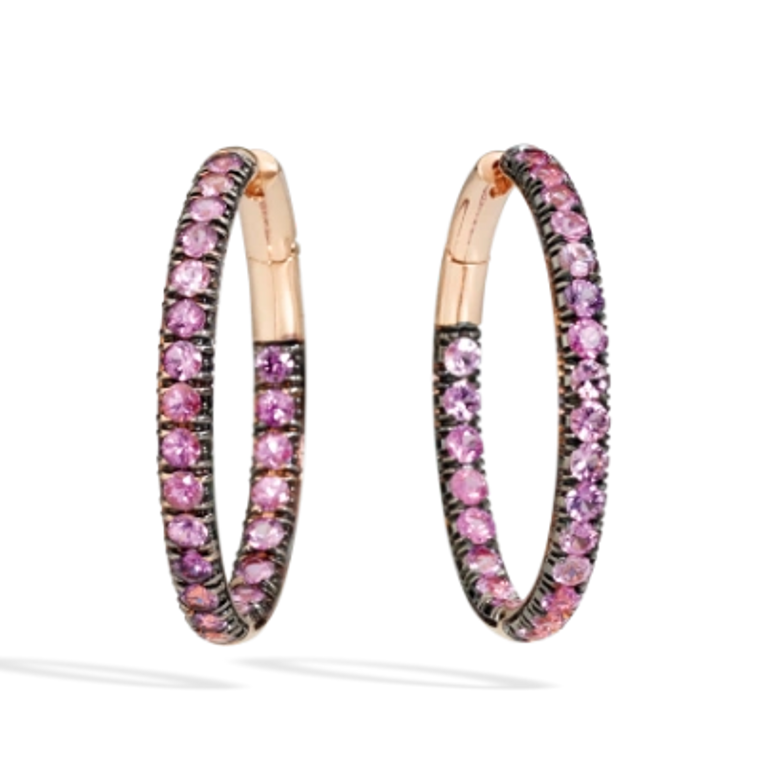 *PRE-ORDER* Pomellato Tango 18K Rose Gold Pink Sapphire Tubular Hoop Earrings, 11/2""