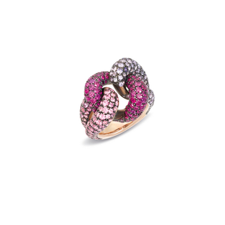 Pomellato 18K Rose Gold Sapphires and Spinel Rubies Tango Knotted Ring