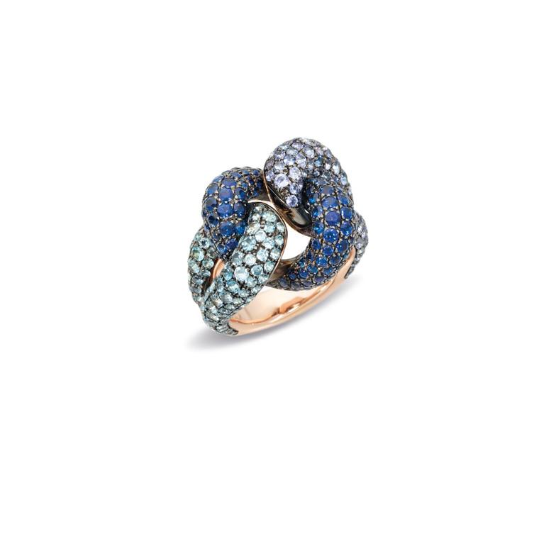 Pomellato 18K Rose Gold Aquamarine and Tanzanite Tango Knotted Ring