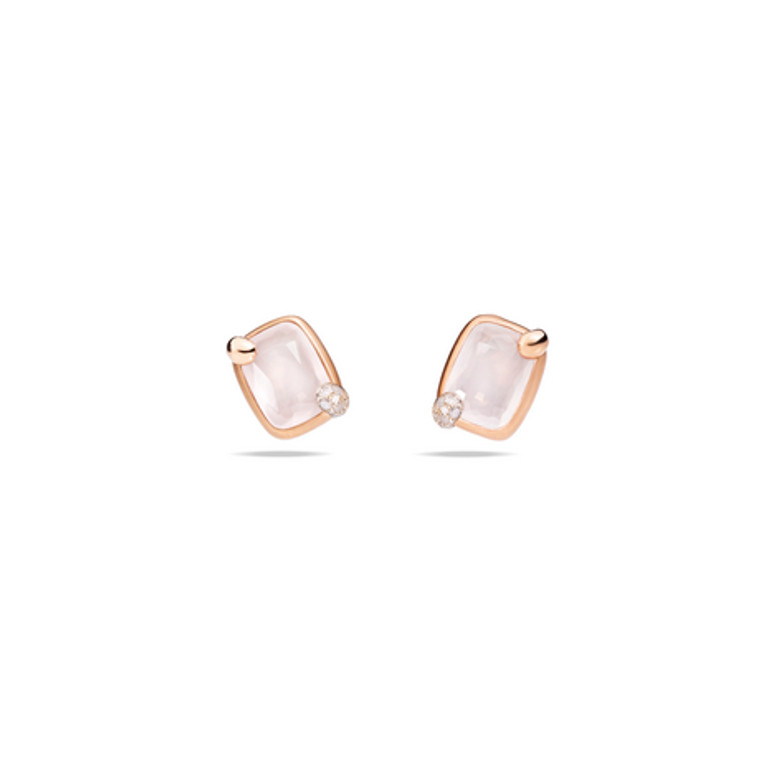 Pomellato 18K Rose Gold White Gold Milky White Quartz  Ritratto Earrings