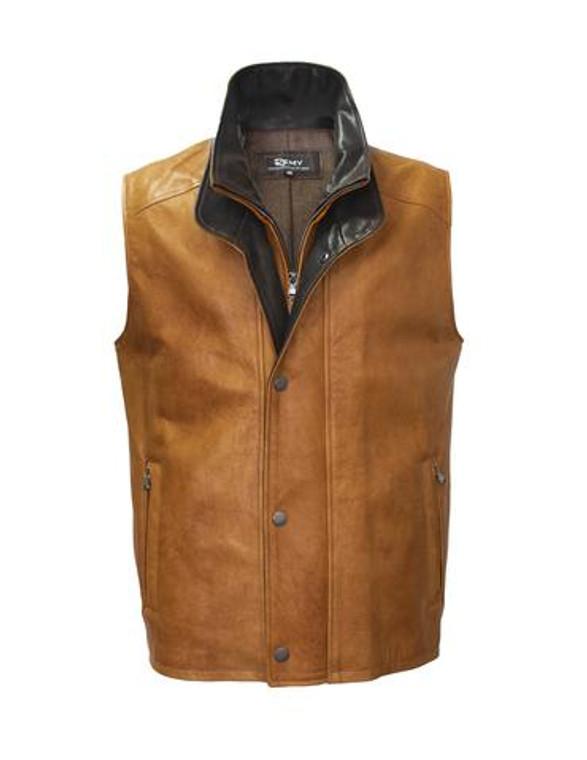 Remy Leather Men's Double Collar Cedar/Cocoa Lambskin Leather Vest