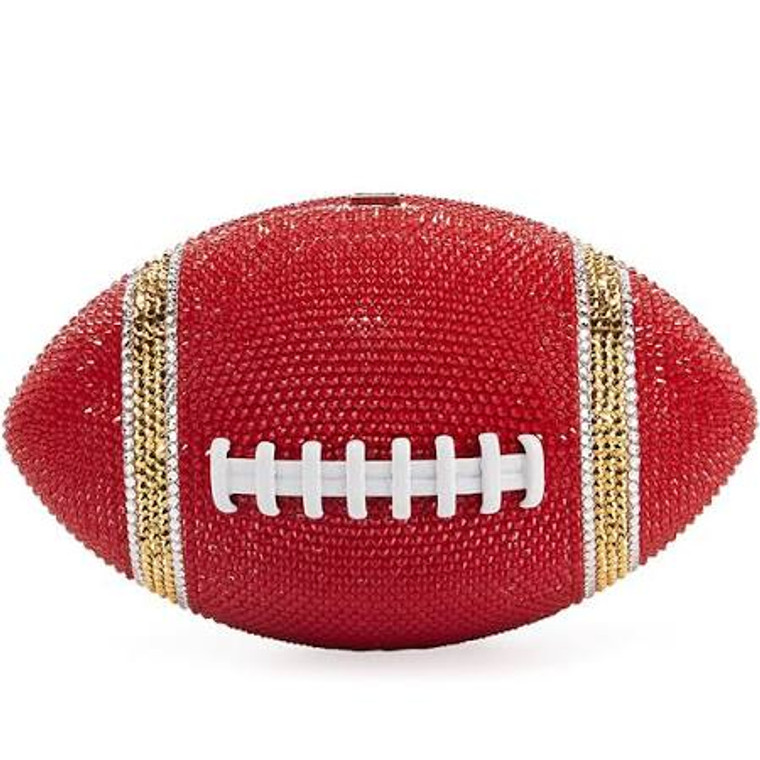 Judith Leiber Couture Red/Gold Football Crystal Clutch Bag