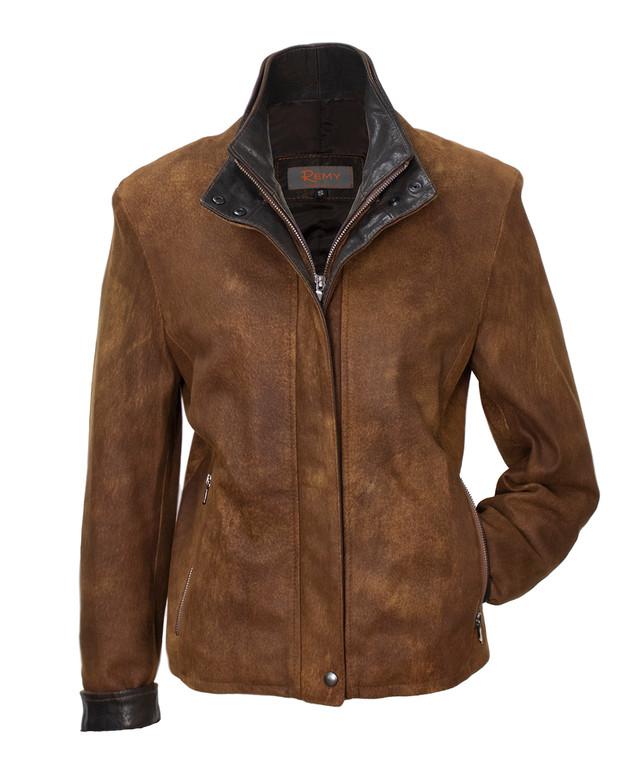 Remy Double Collar Leather Jacket- SAFARI/COCOA