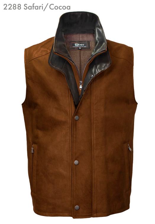 Remy Leather Men's Double Collar Lambskin Leather Vest- SAFARI/COCOA