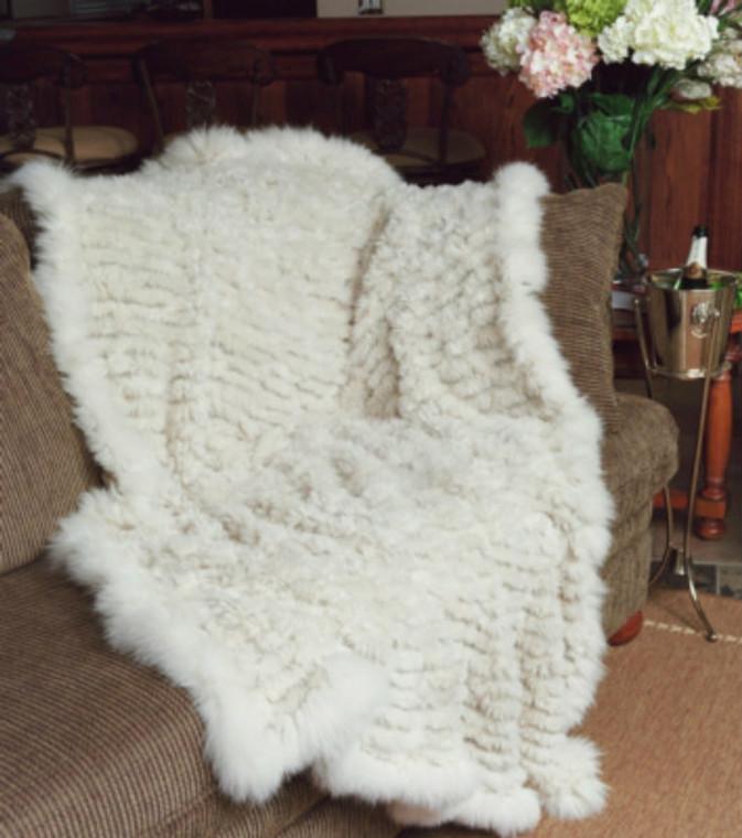*PRE-ORDER* Paula Lishman Hand-Knit Sheared Beaver Throw with Fox Fur Trim in Rose Beige