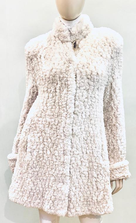 Paula  Lishman  Knit Sheared Dyed Beaver Rose Beige Cuffed Coat