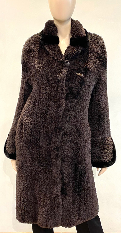 Paula Lishman Knit Sheared Dyed Beaver and Mink Matara/Black Coat