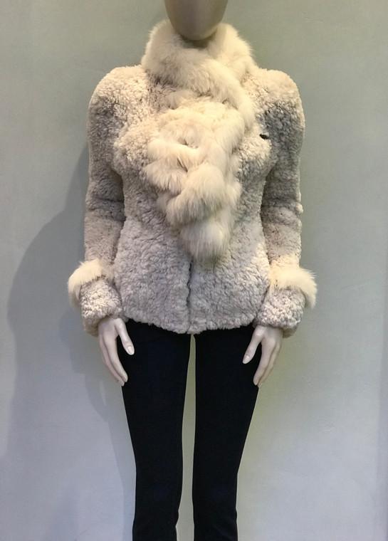 Paula Lishman Knit Sheared Beaver with Fox Fur Rose Beige Sweater