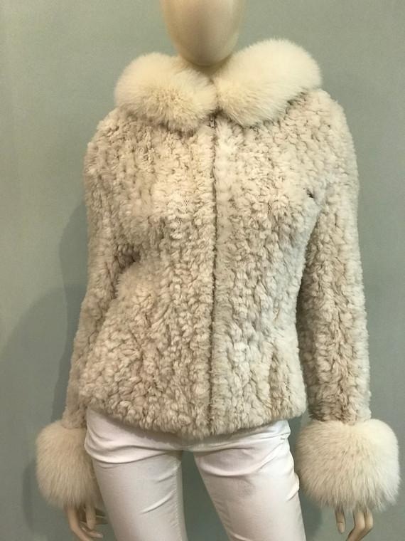 Paula Lishman Knit Sheared Rose Beige Polar Jacket