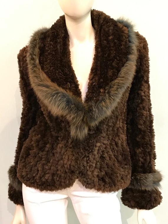 Paula Lishman Knit Beaver Ombre Cognac Greta Blazer with Fox Fur Trim