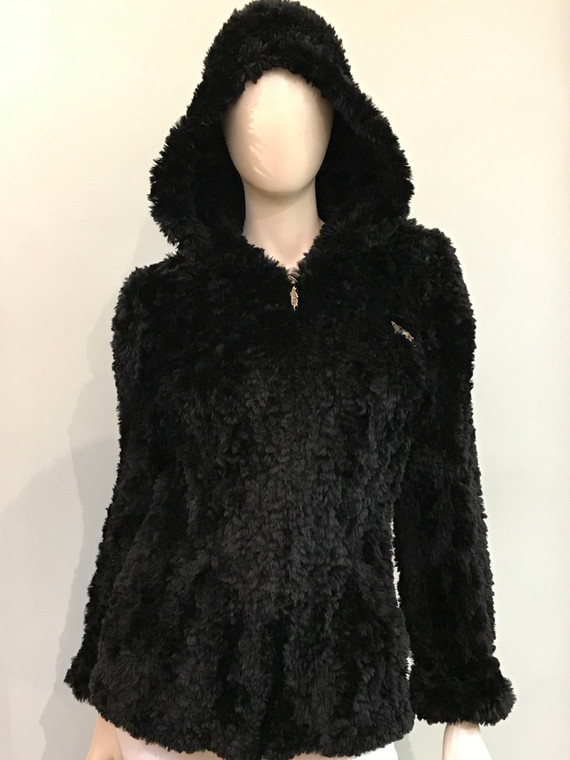 Paula Lishman Knit Sheared Beaver Jill Black Coat