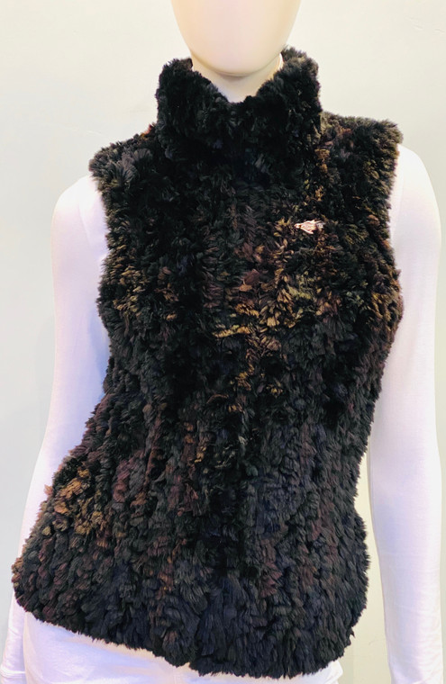 Paula Lishman Hand Knit Black Dyed Beaver Vest