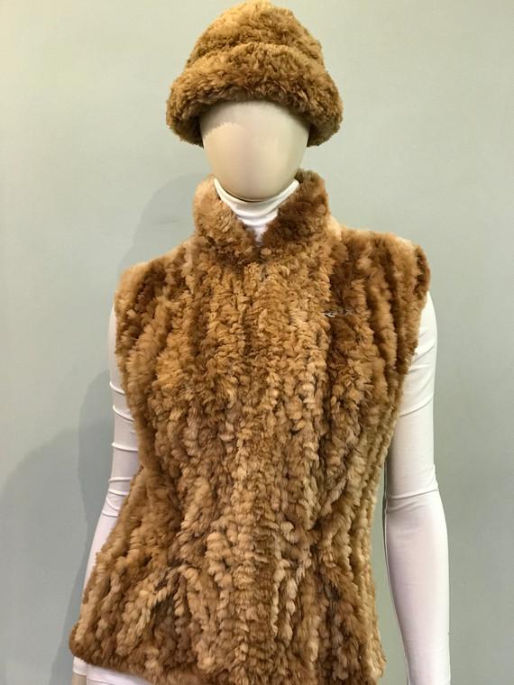 Paula Lishman Hand Knit Sheared Beaver Butterscotch Tube Hat