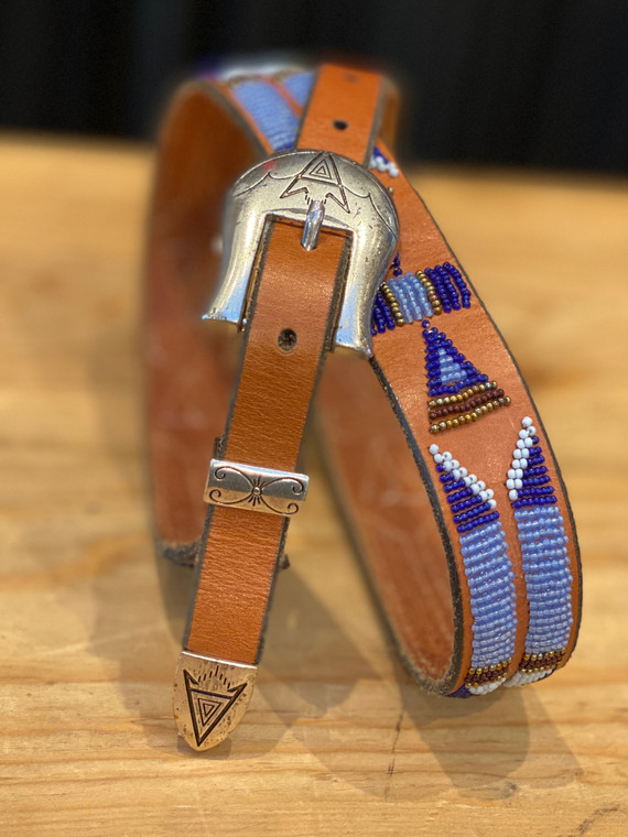 Charlie Hunt Blue Brown Sterling Silver 3pc. Buckle Belt