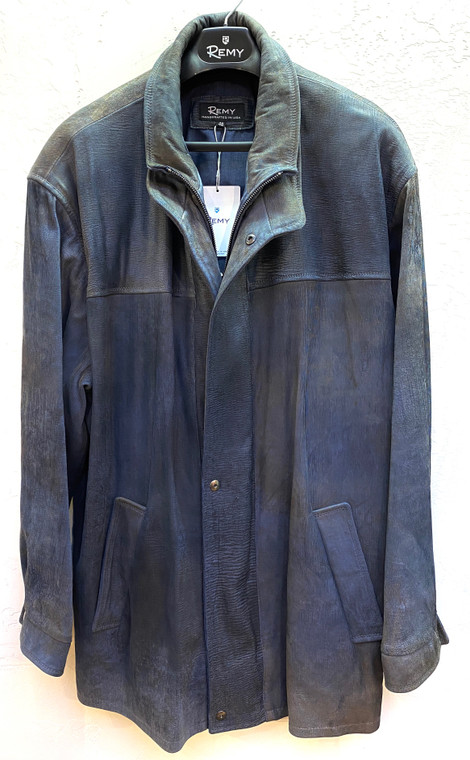 Remy Leather Men's Button-Down Lambskin Leather Coat-Denim