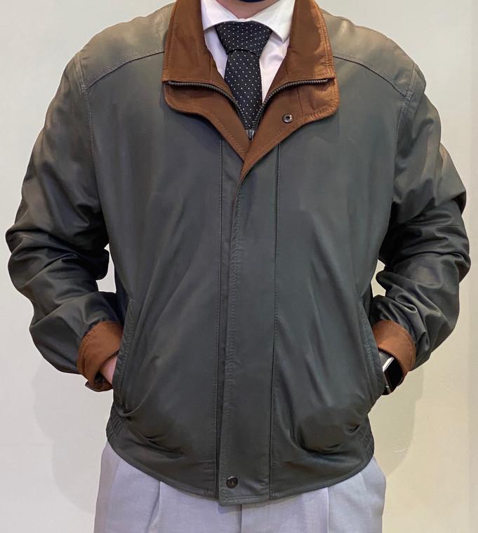 Remy Men's Double Collar Leather Jacket- Shade/Dakota