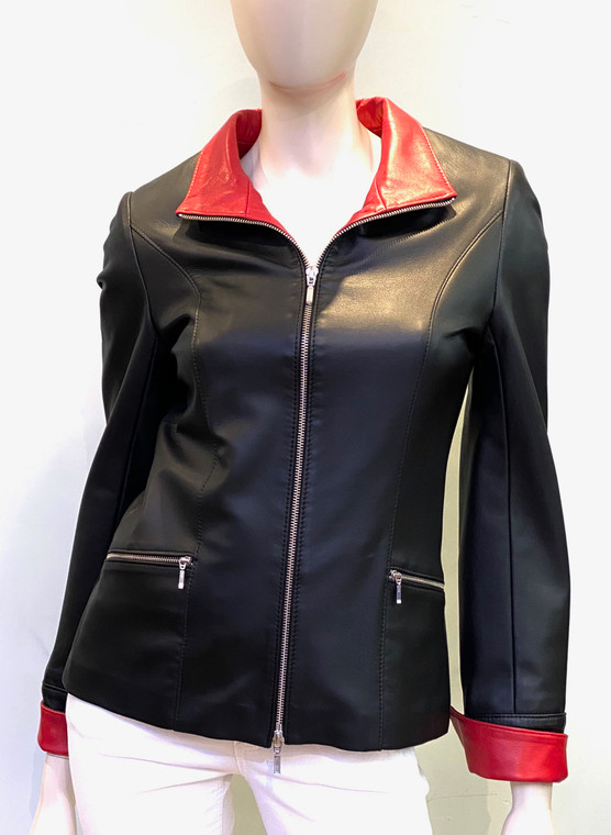 Lyn Leather Katie Jacket in Black/Red