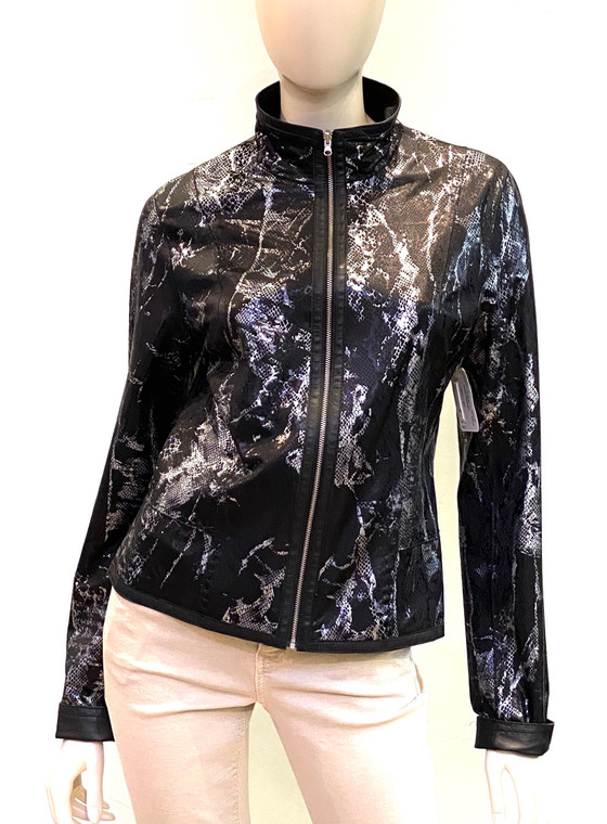 Alice Arthur Reversible Leather Jacket in Black/Abstract