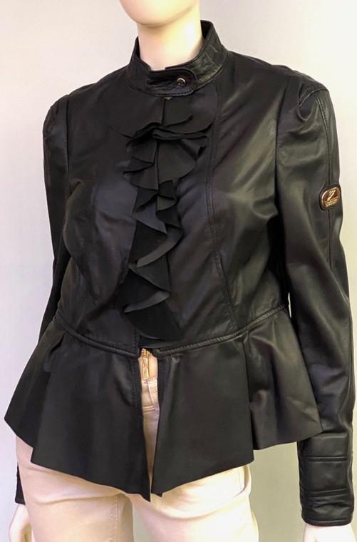 Augustina's Peplum Leather Jacket in Black
