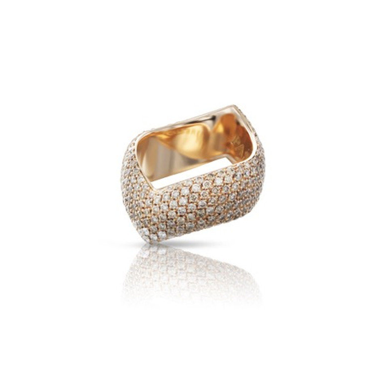 Pasquale Bruni 18k Rose Gold Sensual Touch Ring with White and Champagne Diamonds