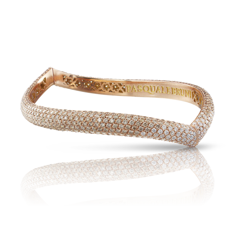 Pasquale Bruni 18k Rose Gold Sensual Touch Bracelet with White and Champagne Diamonds