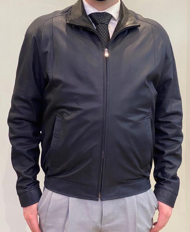 Remy Leather Men's Leather Single Collar Bomber Jacket-Navy/Noir