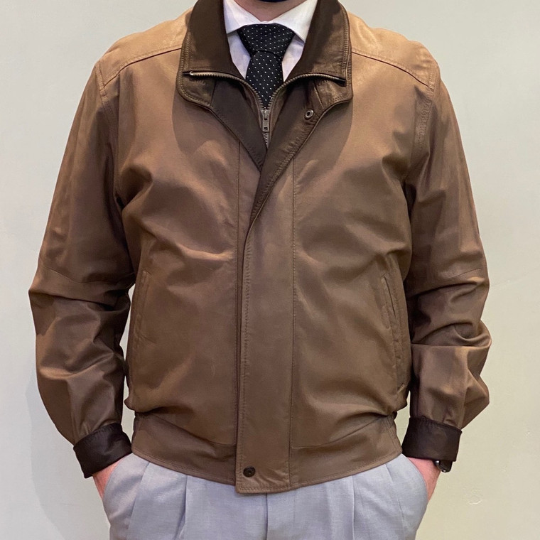 Remy Men's Leather Double Collar Jacket in Brown