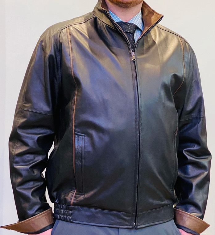 Remy Leather Men's Leather Single Collar Bomber Jacket-Noire/Rustic