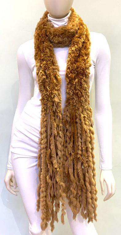 Paula Lishman Hand Knit Sheared Beaver Butterscotch Scarf