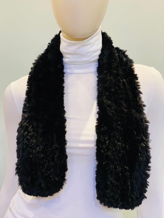 Paula Lishman Hand Knit Sheared Beaver Black Woven Scarf