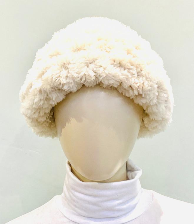 Paula Lishman Hand Knit Sheared Beaver Rosebeige Crochet Beanie Hat