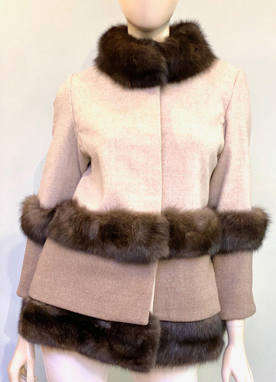 Augustina's Wool Coat with Sable Fur Trim