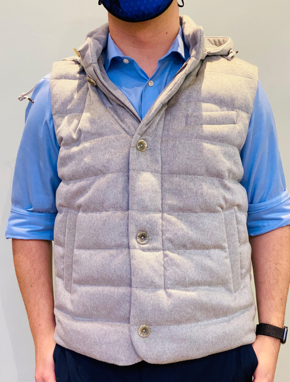 HERNO Grey Down and Cashmere Vest