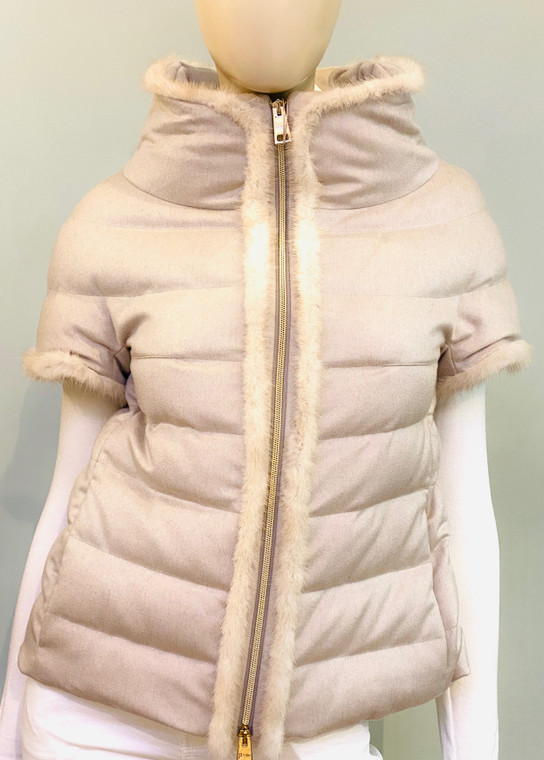 Herno Cashmere Jacket with Mink Fur Trim in Taupe Grey
