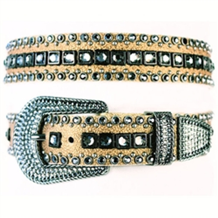 "Kippy's 1 1/4"" Gold Stingray Leather Belt with Black Stones"