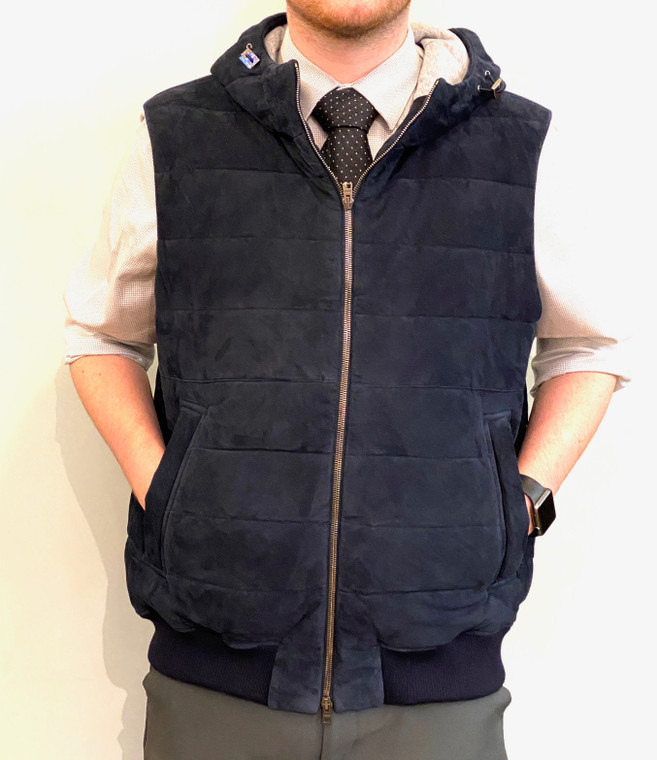 HERNO Mens Navy Goat Leather and Wool Vest