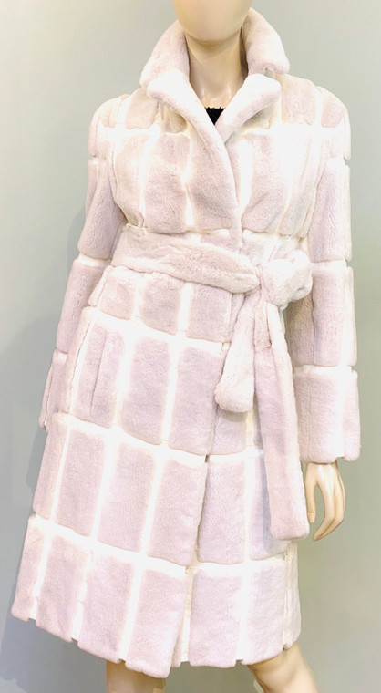 Augustina's Mink Coat with Leather Insert in White