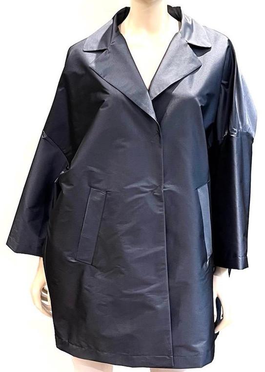 Herno Nylon Oversized Stretch Coat in Medium Blue