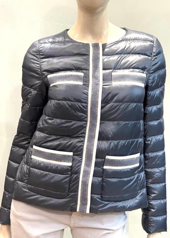 Herno Nylon Ultralight Stripe Trim Padded Jacket in Light Blue