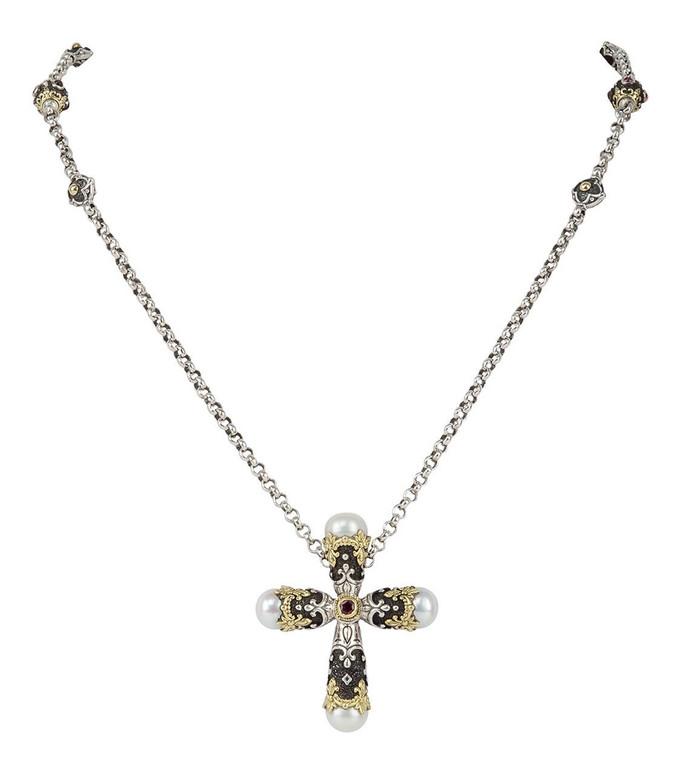 *PRE-ORDER* Konstantino Sterling Silver & 18K Gold Pink Tourmaline Cross Pendant Necklace