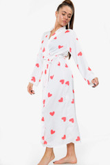 Heart Print Satin Robe Dressing Gown (Two Colours)