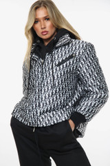 NEW COLOURS Letter Print Puffer Jacket  Zip Front High Neck (Four Colours)