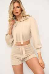 NEW COLOURS Hooded Cropped Top & Shorts Co-Ord Set (Seven Colours)