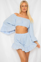Frill Off The Shoulder Shorts Co-Ord Set (Eight Colours)