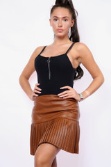 Pleated Vegan Leather Skirt (Two Colours)
