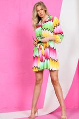 Zig Zag Tie Waist Swing Mini Dress (Four Colours)